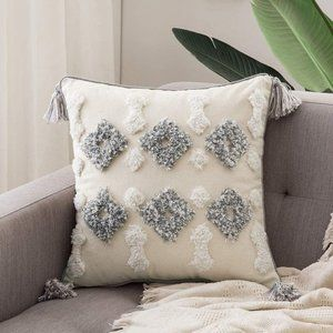 New Boho Woven Tufted Pillow Cover
